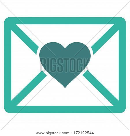 Love Letter flat icon. Vector bicolor cobalt and cyan symbol. Pictogram is isolated on a white background. Trendy flat style illustration for web site design logo ads apps user interface.
