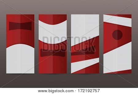 Set Vertical Banners Red Background02