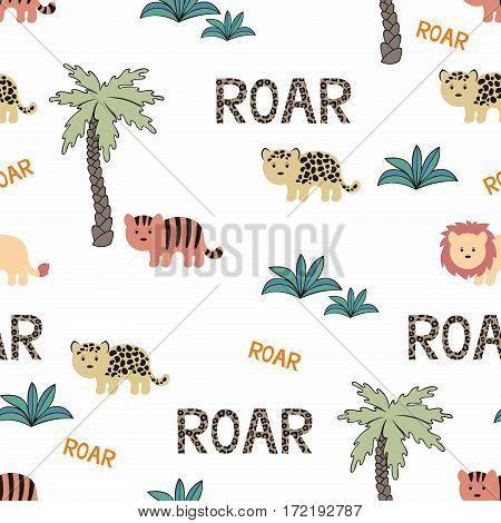 Animals Wild Africa. Seamless background in cartoon style