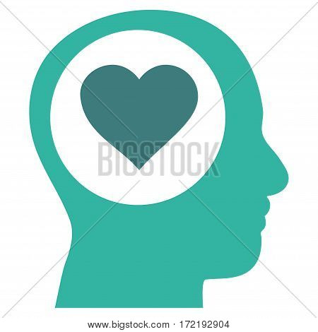 Love Thinking Head flat icon. Vector bicolor cobalt and cyan symbol. Pictogram is isolated on a white background. Trendy flat style illustration for web site design logo ads apps user interface.