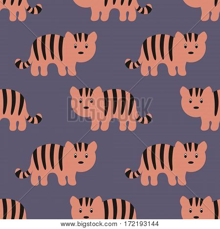 Stylized tiger cartoon style. Seamless vector pattern