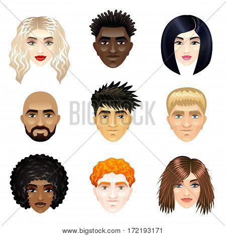 Multicultural people faces photo realistic vector set