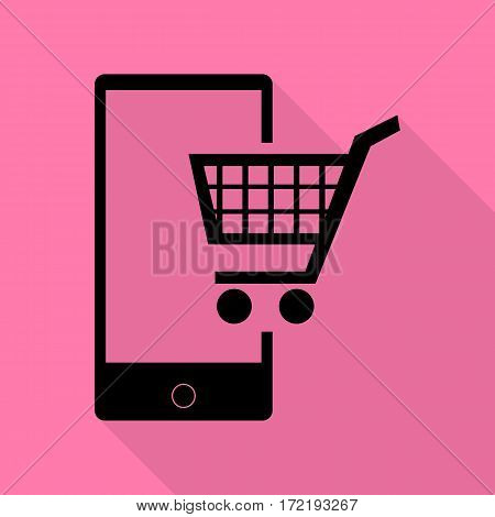 Shopping on smart phone sign. Black icon with flat style shadow path on pink background.