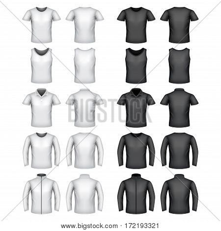 Male t-shirts detailed photo realistic vector set