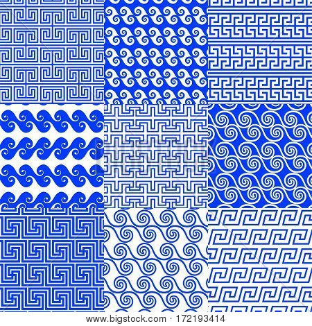 The vector collection of Greek traditional ethnic and modern seamless patterns for decoration background textile fashion design. Set of geometric ornaments in blue and white colors