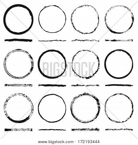 Vector set of round frames sloppy shape and texture made grunge brushes with hand-drawn ink blots. Frames in black color isolated on white background. The brush included in the file