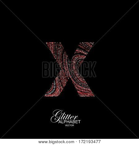 Letter X of red and silver glitters. Typographic vector element for design. Part of curly textured alphabet with shiny paillettes. Letter X with diffusion glitter swirly pattern. Vector illustration