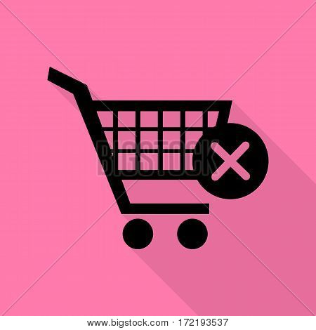 Shopping Cart with delete sign. Black icon with flat style shadow path on pink background.