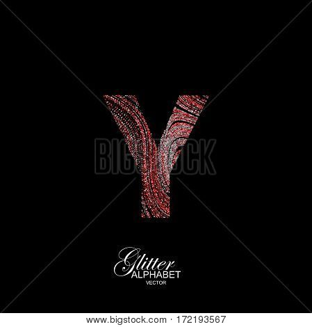 Letter Y of red and silver glitters. Typographic vector element for design. Part of curly textured alphabet with shiny paillettes. Letter Y with diffusion glitter swirly pattern. Vector illustration