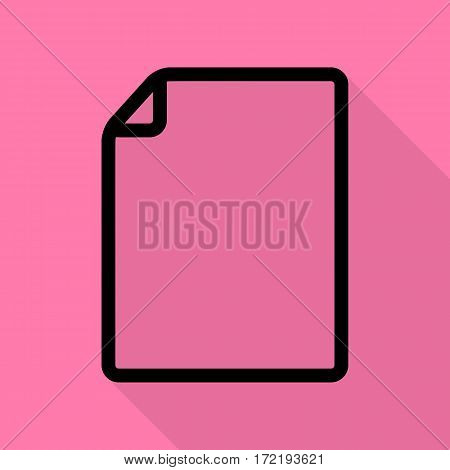 Vertical document sign illustration. Black icon with flat style shadow path on pink background.