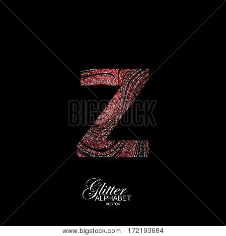 Letter Z of red and silver glitters. Typographic vector element for design. Part of curly textured alphabet with shiny paillettes. Letter Z with diffusion glitter swirly pattern. Vector illustration