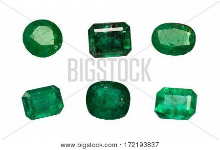 Natural Emerald Isolated On White Background