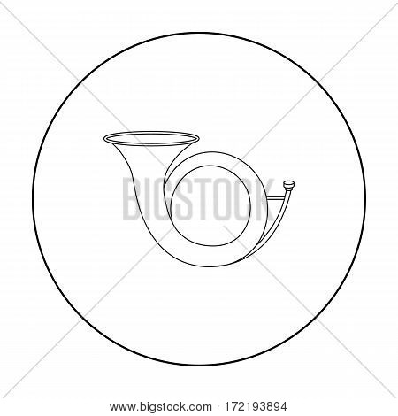 Hunting horn icon in outline style isolated on white background. Hunting symbol vector illustration.