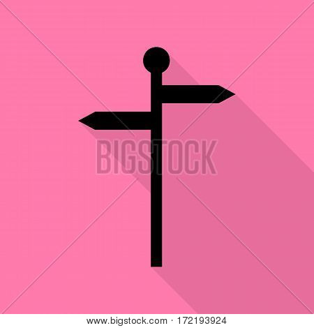 Direction road sign. Black icon with flat style shadow path on pink background.