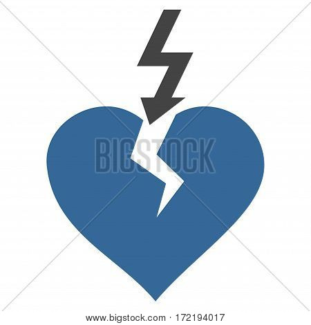 Break Heart flat icon. Vector bicolor cobalt and gray symbol. Pictogram is isolated on a white background. Trendy flat style illustration for web site design logo ads apps user interface.