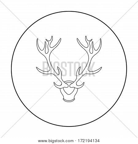 Deer antlers horns icon in outline style isolated on white background. Hunting symbol vector illustration.
