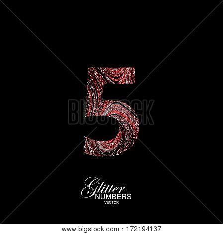Number 5 of red and silver glitters. Typographic vector element for design. Part of curly textured alphabet with shiny paillettes. Digit five with diffusion glitter swirly pattern. Vector illustration