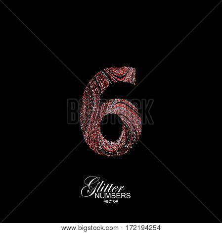 Number 6 of red and silver glitters. Typographic vector element for design. Part of curly textured alphabet with shiny paillettes. Digit six with diffusion glitter swirly pattern. Vector illustration