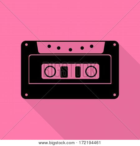 Cassette icon, audio tape sign. Black icon with flat style shadow path on pink background.