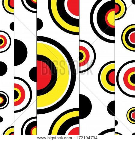 Half circles retro style seamless pattern. Red, yellow and black shapes vector illustration. Clipping mask used.