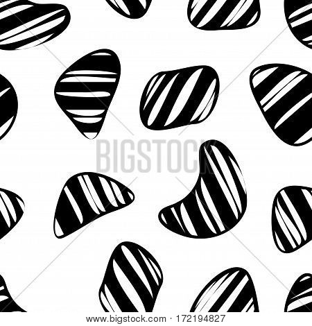 Organic shapes seamless pattern. Vintage Memphis style vector illustration. Clipping mask used.