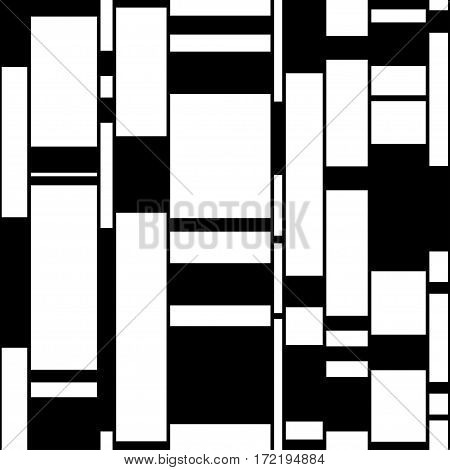 Modern urban shapes seamless pattern. Black and white vector illustration. Clipping mask used.