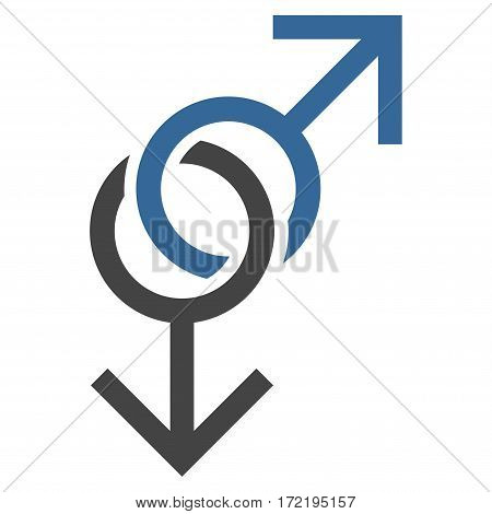 Gay Love Symbol flat icon. Vector bicolor cobalt and gray symbol. Pictograph is isolated on a white background. Trendy flat style illustration for web site design logo ads apps user interface.