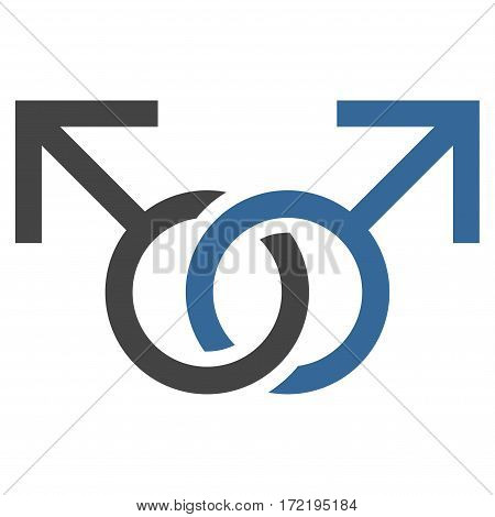 Gay Love Symbol flat icon. Vector bicolor cobalt and gray symbol. Pictogram is isolated on a white background. Trendy flat style illustration for web site design logo ads apps user interface.