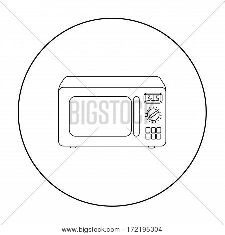 Microwave icon in outline style isolated on white background. Household appliance symbol vector illustration.
