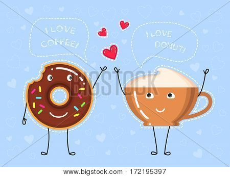 Funny vector illustration of coffee cup donut with chocolate glaze coffee cup what make a declaration of love and red hearts on blue background