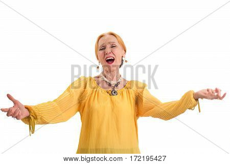 Elderly woman singing. Old lady isolated. Former opera singer.