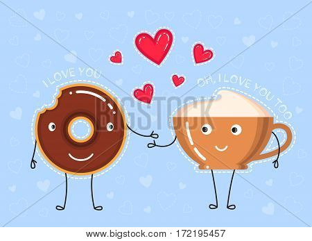 vector illustration of donut with chocolate glaze coffee cup what make a declaration of love and red hearts on blue background