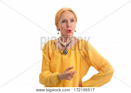 Serious old woman. Senior lady on white background. Respect the elders.