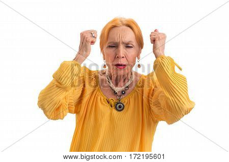 Stressed woman with closed eyes. Upset senior lady. How to deal with tension.