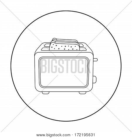 Toaster icon in outline style isolated on white background. Household appliance symbol vector illustration.