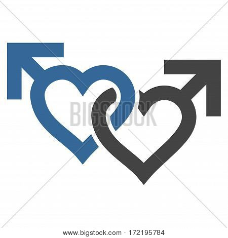 Linked Gay Hearts flat icon. Vector bicolor cobalt and gray symbol. Pictogram is isolated on a white background. Trendy flat style illustration for web site design logo ads apps user interface.