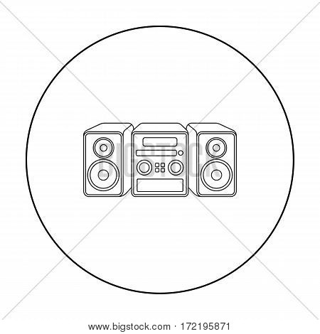 Music center icon in outline style isolated on white background. Household appliance symbol vector illustration.