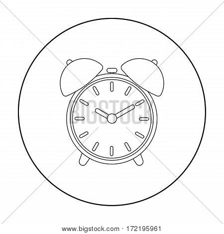 Alarm clock icon in outline style isolated on white background. Hotel symbol vector illustration.