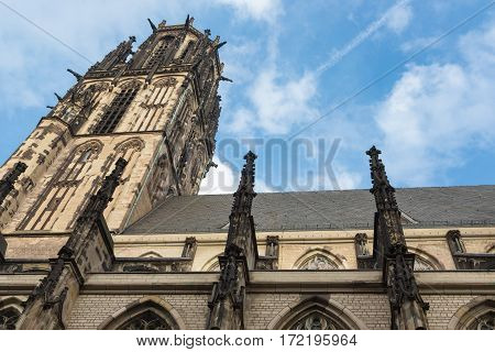 View at Salvator church with black soot in Duisburg Germany