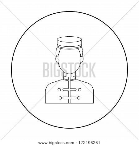 Bellboy icon in outline style isolated on white background. Hotel symbol vector illustration.