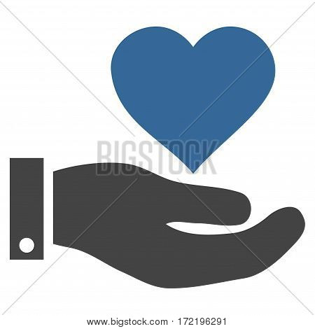 Love Heart Offer Hand flat icon. Vector bicolor cobalt and gray symbol. Pictogram is isolated on a white background. Trendy flat style illustration for web site design logo ads apps