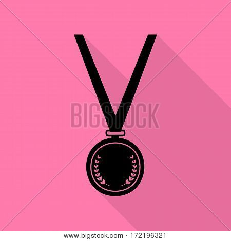 Medal simple sign. Black icon with flat style shadow path on pink background.