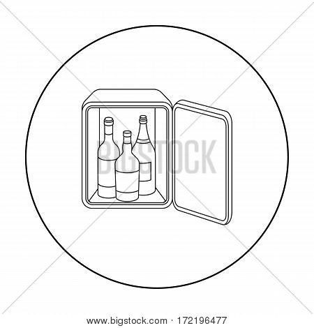Mini-bar icon in outline style isolated on white background. Hotel symbol vector illustration.