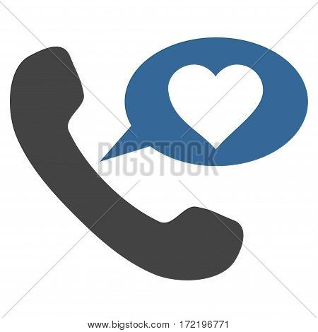 Love Phone Message flat icon. Vector bicolor cobalt and gray symbol. Pictogram is isolated on a white background. Trendy flat style illustration for web site design logo ads apps user interface.