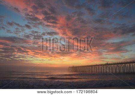 Sunrise along the North Carolina shore near Kure Beach