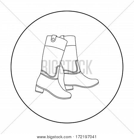 Jockey's high boots icon in outline design isolated on white background. Hippodrome and horse symbol stock vector illustration.