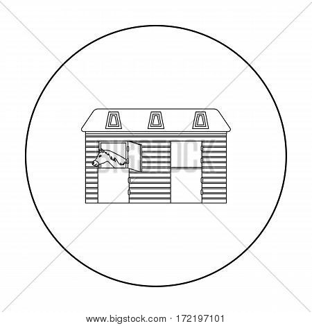 Horse stable icon in outline design isolated on white background. Hippodrome and horse symbol stock vector illustration.