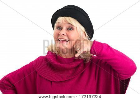 Woman is imitating phone call. Friendly old lady isolated. Who is calling me.