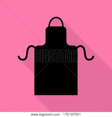Apron simple sign. Black icon with flat style shadow path on pink background.