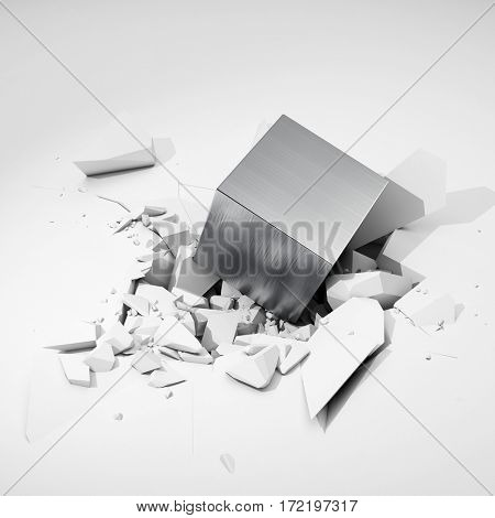 Metal cube hits surface and destroys it. 3D illustration.